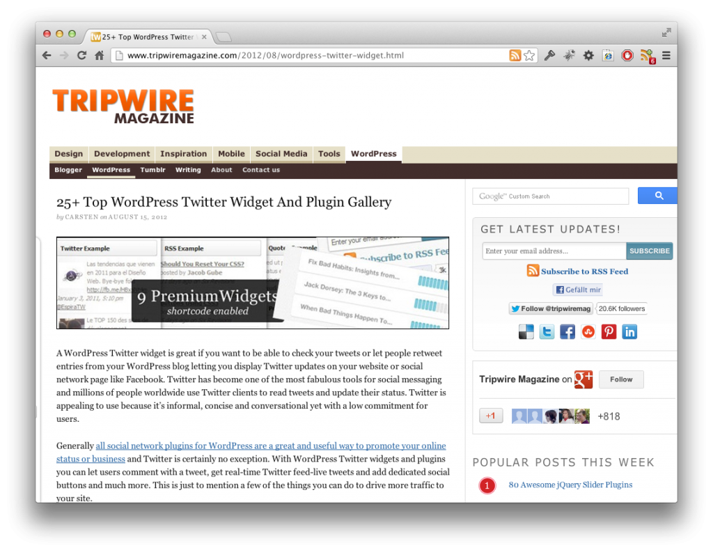 Screenshot 25 Twitter Widgets und Plugins für WordPress