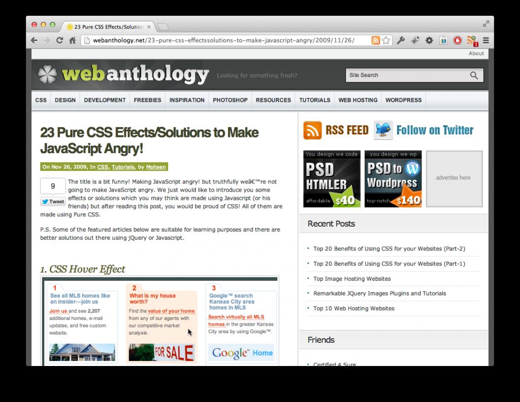Screenshot CSS-Effekte