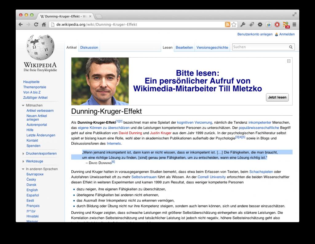 Screenshot Dunning-Kruger-Effekt
