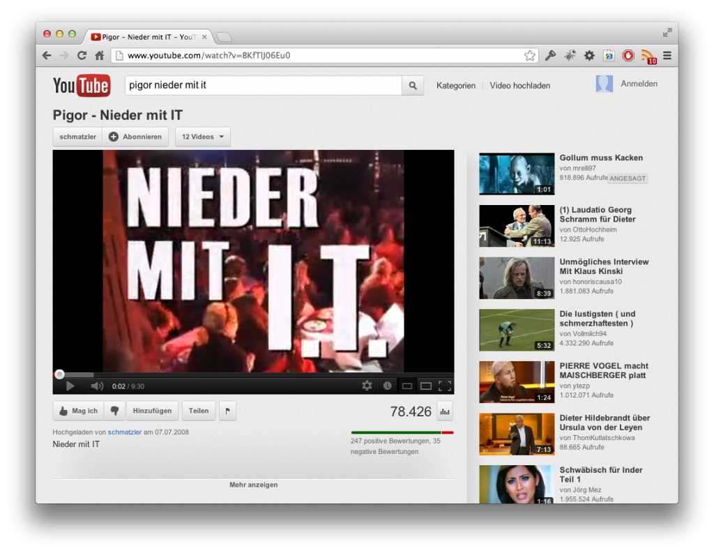 "Screenshot ""Nieder mit IT!"""