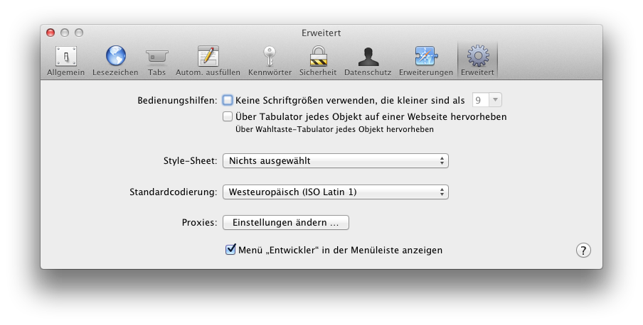 Screenshot Safari Entwickler aktivieren