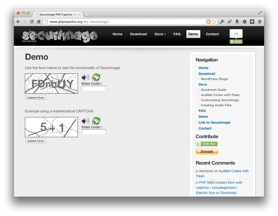 Screenshot Secureimage PHP CAPTCHA