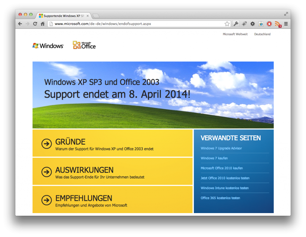 Screenshot Supportende Windows XP