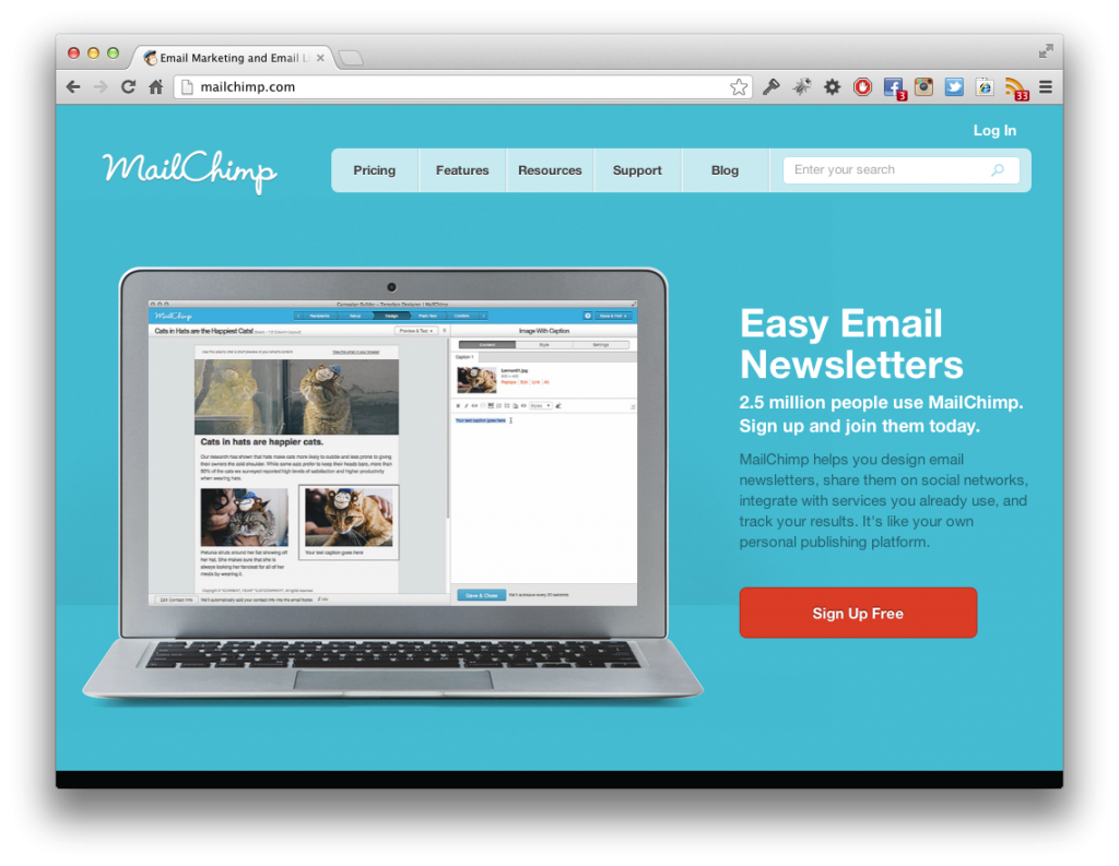 Screenshot MailChimp