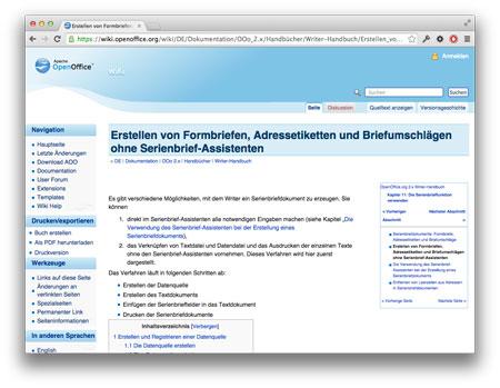 Screenshot OpenOfficeSeriendruck