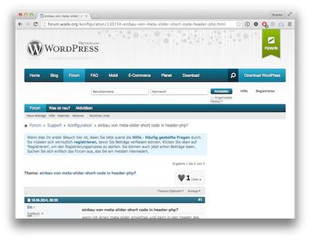 Screenshot WordPress Shortcodes im Quelltext