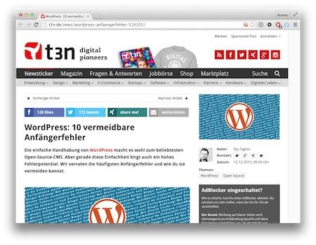 Screenshot 10 typische WordPress-Fehler