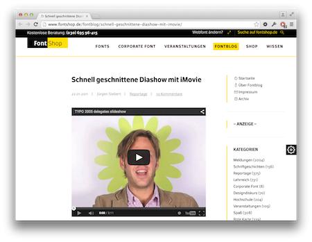 Screenshot Diashow auf Beat mit iMovie