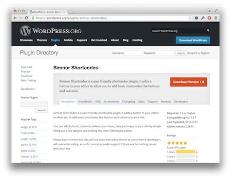 Screenshot Simnor Shortcodes